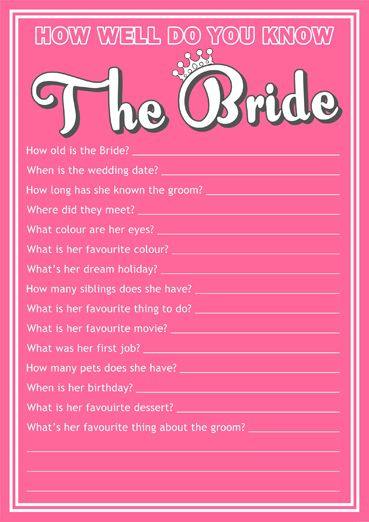 Freebies How Well Do You Know The Bride